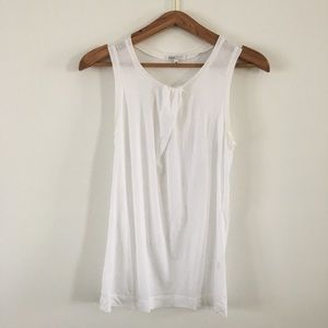 VINCE White Sleeveless Top w/ Pleated Neck Detail
